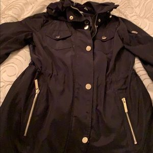 Black Trench Coat w Gold Zippers and Buttons